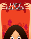 Halloween Ghost And Monsters Character Poster royalty free illustration