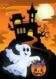 Halloween ghost near haunted castle Royalty Free Stock Photography