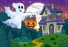 Halloween ghost near haunted house 1 Royalty Free Stock Photo