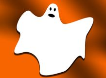 Halloween ghost on an Orange Background Royalty Free Stock Photography