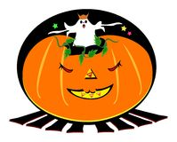 Halloween Ghost in a Pumpkin Royalty Free Stock Photography