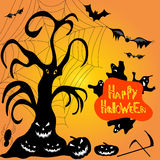 Halloween ghost pumpkin bats cobwebs vector illustration Stock Photography