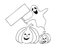 Halloween ghost and pumpkins Stock Image