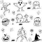 Halloween ghost pumpkins tomb costume doodle Royalty Free Stock Photo