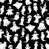 Halloween ghost seamless pattern background design. Halloween ghost seamless pattern background. Scary ghost and holiday spirit, flying monster, poltergeist and Royalty Free Stock Photography
