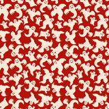 Halloween Ghost Seamless Pattern Red Background Royalty Free Stock Image