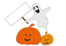 Halloween ghost with sign Stock Photos