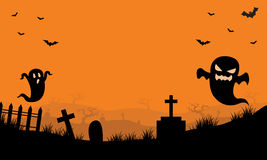 Halloween Ghost in tomb orange backgrounds. Halloween Ghost and bat in tomb orange backgrounds Stock Photo