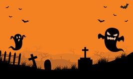 Halloween Ghost in tomb orange backgrounds Stock Photo