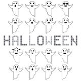 Halloween ghost vector set different face Stock Image