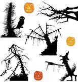 Halloween ghostly silhouettes of trees and pumpkin. Black silhouettes of trees with owl and pumpkins Stock Image