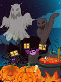 Halloween and ghosts. Illustration of halloween and ghosts in a dark night Stock Image