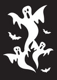 Halloween ghosts with bats Royalty Free Stock Images
