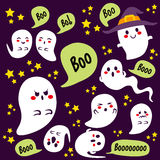Halloween Ghosts Characters. Cute Halloween different ghosts characters with boo text on bubble speech and stars Royalty Free Stock Photos