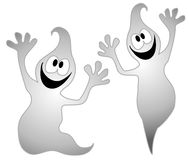 Halloween Ghosts Clip Art 3. A clip art illustration of an isolated pair of spooky and silly looking ghosts in white set against a white background. Boo Royalty Free Stock Image