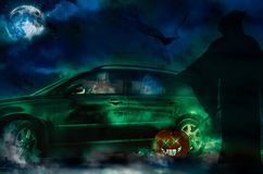 Halloween ghosts driving a new car stock photos