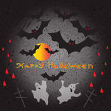 Halloween ghosts and flying against the backdrop of the moon vector illustration Stock Images