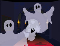 Halloween ghosts. Ghosts flying in the air through an old building hall stock illustration