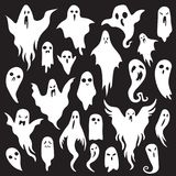 Halloween ghosts. Ghostly monster with Boo scary face. Spooky ghost flat vector icon set. Halloween ghosts. Ghostly monster with Boo scary face shape. Spooky vector illustration