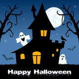 Halloween Ghosts, Haunted House & Bats Royalty Free Stock Photo