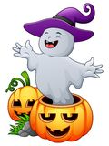 Halloween ghosts holds pumpkin bag full candy. Illustration of Halloween ghosts holds pumpkin bag full candy Royalty Free Stock Photo