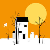 Halloween ghosts and house illustration Royalty Free Stock Photos
