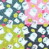 Halloween Ghosts Seamless Pattern. Stock Image