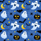 Halloween Ghosts Seamless. A seamless pattern with ghosts, black pumpkins and bats,  on blue background. Useful also as design element for texture, pattern or Stock Photos