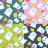 Halloween ghosts seamless pattern. Stock Image