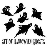 Halloween Ghosts Silhouettes Stock Photo