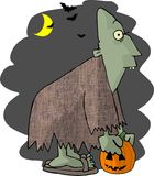 Halloween Ghoul. This illustration that I created depicts a green ghoul carrying a jack-o-lantern Royalty Free Stock Image