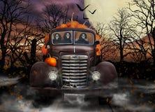 Halloween-Ghule, die Kürbise liefern Stockbild