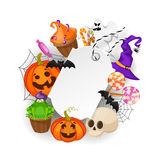 Halloween Gift Tags with autumn tree, bats, candy, spider, pumpkins and ghost on white background. Perfect for holiday Royalty Free Stock Photo