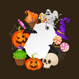 Halloween Gift Tags with autumn tree, bats, candy, spider Royalty Free Stock Photo