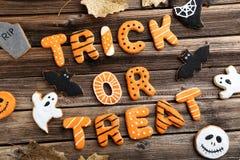 Halloween gingerbread cookies stock photos