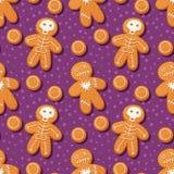 Halloween gingerbread pattern Stock Image