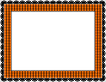 Halloween Gingham Frame. Gingham patterned frame with scalloped border in Halloween black and orange Stock Photo