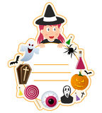 Halloween Girl Book Cover Frame. A Halloween girl book cover frame with funny elements and space for your text. Eps file available Stock Images