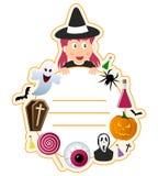 Halloween Girl Book Cover Frame Vector Illustration