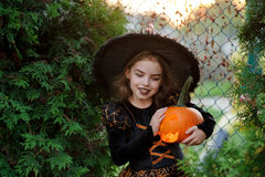 Halloween. The girl is dressed in dark dress and hat. Halloween. The girl is dressed in a dark dress and a hat. She holds orange pumpkin lamp in hand. The baby stock images