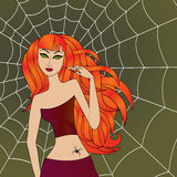 Halloween girl with green cat eyes against large cobweb. Halloween girl with green cat eyes and bright fiery red hair against the background of a large cobweb Royalty Free Stock Photos