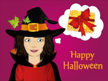 Halloween.Girl in hat and witch costume. Girl makes a wish. She dreams of a better.Vector. Greeting card or invitation for holiday or party. Pop art Thought Royalty Free Stock Photography