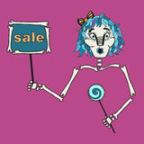 Halloween girl hold the tablet with inscription: sale Stock Images