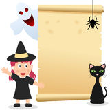 Halloween Girl Invitation Card. Happy Halloween invitation card with a girl with a witch costume, a black cat, a spider, a ghost and an old parchment scroll vector illustration