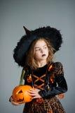 Halloween. Girl portray evil sorceress Royalty Free Stock Image