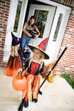 Halloween: Girl Ready For More Trick Or Treat After Getting Cand Royalty Free Stock Image