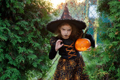 Halloween. The girl represents the angry sorcerer. She is dressed in a dark dress and a hat and holds pumpkin lamp. On a girl's face a make-up for an evil look royalty free stock image