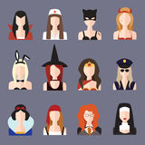 Halloween girl set. Set girls Halloween in different sexy costumes Stock Photos