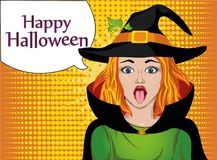 Halloween. The girl in the suit and hat of the witch stuck out vector illustration