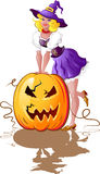 Halloween girl whith pumpkin Stock Image